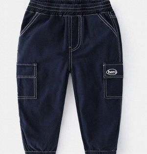 Брюки для мальчика, карманы по бокам, цвет темно-синий