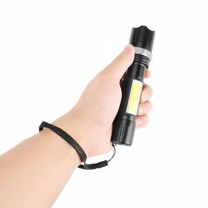 Фонарик Материал: алюминиевый сплав • Цвет изделия: черный Светильник Цвет: белый Тип лампы: XPE + COB Режим работы: светодиодный, мощный/светодиодный, мощный Режим масштабирования: Поворот фокуса Раз