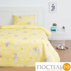 Постельное бельё Экономь и Я 1,5 сп «Мишки», цв.желтый, 145х210 см, 150х210 см, 50х70 см, бязь