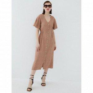 Платье женское бежевый графика мелкая