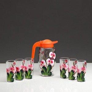 """Набор для сока """"Орхидея"""" художественная роспись, 6 стаканов  1250/200 мл"""