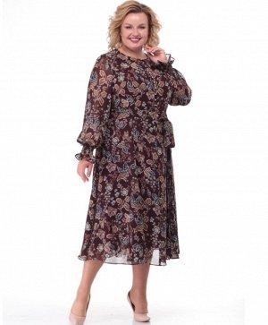 Платье Нарядное платье полуприлегающего силуэта «годэ», выполнено из шифоновой ткани. Горловина округлая. Рукав одношовный, присборенный на резинку по низу. По полочкам и спинке изделия рельефы, выход