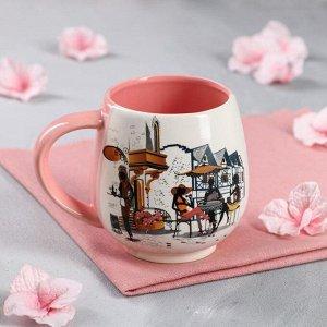 """Кружка """"Чайная"""", бело-розовая, 0.4 л, микс"""