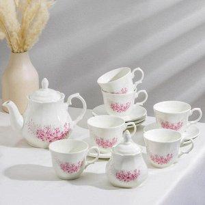 """Сервиз чайный """"Арина. Фрезия"""", 14 предметов: чайник 1,04 л, сахарница 500 мл, 6 чашек 270 мл, 6 блюдец 14,7 см"""