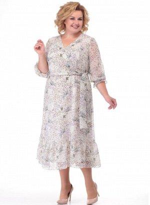 Платье Нарядное платье приталенного силуэта с «V» образным вырезом на трикотажной подкладке. По переду – декоративная отлетная деталь, имитирующая «запах», который завязывается на бант. Выполнены рель