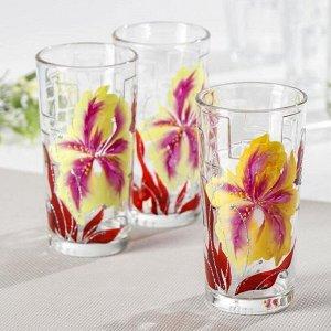 Набор стаканов GiDGLASS «Страстный ирис», 230 мл, 3 шт, в подарочной упаковке
