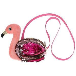 F80131-17 Мягкая игрушка сумочка в виде фламинго из пайеток 16х18см, в пак МОЙ ПИТОМЕЦ в кор.24шт