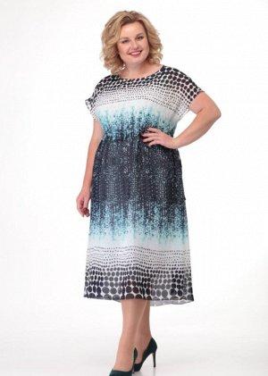 Платье Элегантное платье со спущенным рукавом трапециевидного силуэта, из купонированного шифона, на трикотажной подкладке, отрезное чуть выше линии талии, на кулисе. Горловина округлая. Низ платья –