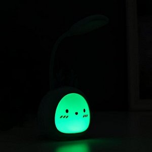 Лампа настодльная с ночником 16450/1 LED 2Вт 3 режима АКБ USB нежно-зеленый 8.5х7х28 см