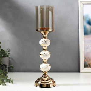 """Подсвечник металл на 1 свечу """"Мраморные шары с золотом"""" 41.5х11.5х11.5 см"""