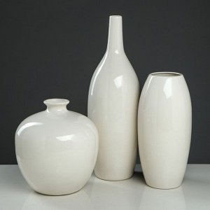"Набор ваз ""Малия"". цвет белый. 22/40/27 см. керамика"