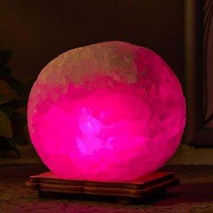 """Соляной светильник  """"Круг"""" LED (диод цветной) USB белая соль 12,5*5*10 см"""