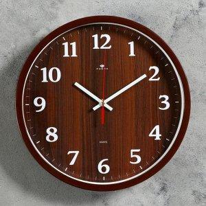 """Часы настенные круглые """"Дерево"""". 30 см. обод коричневый"""