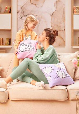 Наволочка для подушки лиловая  «Милая овечка» L.OVE