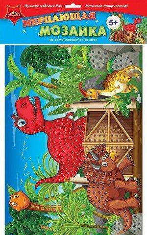 """С1573-69 Мерцающая мозаика """"Динозавры"""" самоклеющаяся"""
