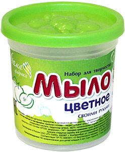 """С0245 Мыло своими руками цветное """"Зеленое яблоко"""" в банке"""