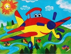 "А-7316 Объемная самоклеящаяся аппликация ""Самолет"""