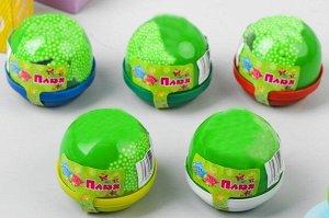 0162/7218GR 40g Слайм-Плюх зеленый с шариками капсула 40 грамм