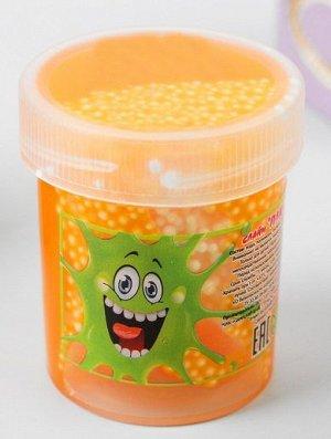 0414/7218ORTU 40g Слайм-Плюх оранжевый с шариками туба 40 грамм
