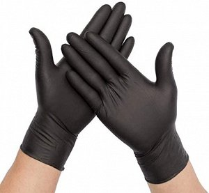 Перчатки 100 шт. Черные Перчатки Из Смеси Винила И Нитрила.