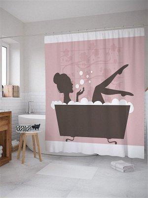 "JoyArty /  Штора для ванной ""Дама в ванной"", 180х200"