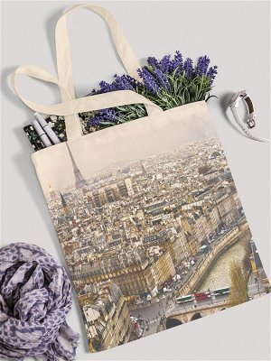 "JoyArty /  Сумка-шоппер ""Прекрасная дама в Париже"", ткань под лен, 42x38x7 см"