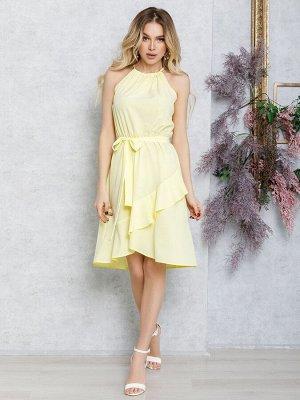 Желтое платье с запахом на юбке