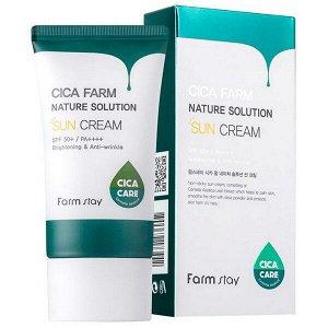 Солнцезащитный крем с центеллой азиатской FarmStay Cica Farm Nature Solution Sun Cream SPF50+ PA++++, 50g