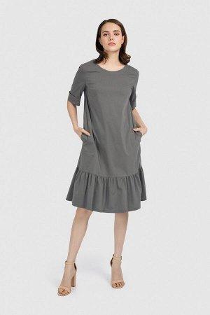 Платье Платье свободного кроя с воланами по низу. Округлый вырез горловины. Карманы по бокам. Состав 69%хлопок, 28%полиэстер, 3%эластан