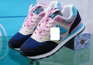 Женские кроссовки, цвет синий/бежевый/голубой/розовый