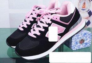 Женские кроссовки, цвет черный/розовый