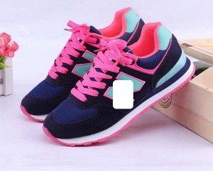 Женские кроссовки, цвет темно-синий/ярко-розовый