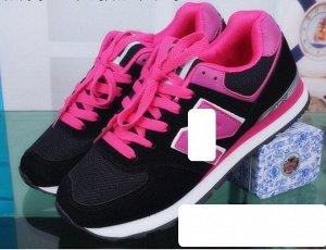 Женские кроссовки, цвет черный/ярко-розовый
