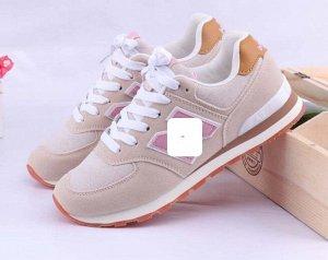 Женские кроссовки, цвет бежевый/нежно-розовый