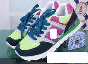 Женские кроссовки, цвет темно-зеленый/светло-зеленый/ярко-розовый