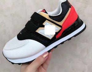 Детские кроссовки, цвет белый/черный/кремовый/красный