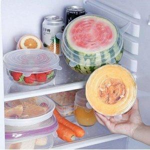 Силиконовые  крышки для посуды, 6 шт.