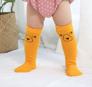 Гольфы детские, цвет желтый, принт медведь