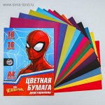 Бумага цветная двусторонняя «Человек-паук», А4, 16 л., 16 цв., Человек паук, 48 г/м2