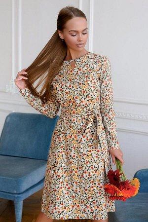 Платье Размер: 42 / 44 / 48 Рисунок из множества небольших, пестрых цветов называется мильфлёр. Игривый, кокетливый, летящий. Платье выполнено из текстильного льна, с гладкой поверхностью и матовым бл