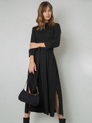 Платье Состав ткани: Тенсел 100% Описание модели Платье-рубашка — основа базового гардероба, особенно у тех, кто соблюдает дресс-код. Длина миди, приталенный силуэт с эластичным поясом, накладные карм