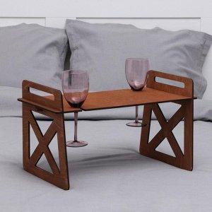 Столик-поднос для вина и двух бокалов с ручками, 55?27?32 см