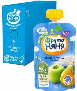 ФРУТОНЯНЯ Пюре 90г яблоко-груша с творогом без сахара большая упаковка 12 шт