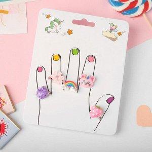 """Кольца детские """"Пальчики"""" (наб. 5шт) фантазия, форма МИКС, цветные, безразмерные"""