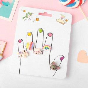 """Кольца детские """"Пальчики"""" (наб. 5шт) воображение, форма МИКС, цветные, безразмерные"""