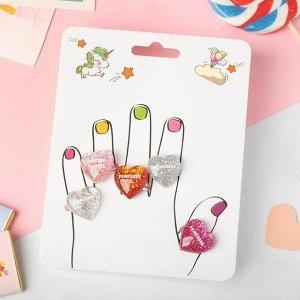 """Кольца детские """"Пальчики"""" (наб. 5шт) сердечки, цветные, безразмерные"""