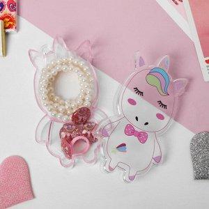 """Набор детский 4 предмета: клипсы, бусы, браслет, кольцо """"Единорог"""", цвет бело-розовый"""