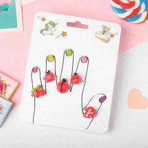 """Кольца детские """"Пальчики"""" (наб. 5шт) божьи коровки и ягодки, форма МИКС, цвет красный, безразмерные"""