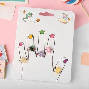 """Кольца детские """"Пальчики"""" (наб. 5шт) единорожки блестящие, цветные, безразмерные"""