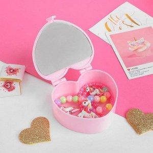 """Комплект детский 3 предмета: клипсы, бусы, браслет """"Шкатулка"""" с зеркалом, цветной"""